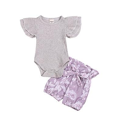 047f2a1fab65 Χαμηλού Κόστους Βρεφικά σετ ρούχων-Μωρό Κοριτσίστικα Ενεργό Ζακάρ Στάμπα  Αμάνικο Κανονικό Κανονικό Βαμβάκι Σετ