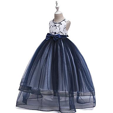 baratos Vestidos para Meninas-Infantil Para Meninas Vintage Doce Estampa Colorida Com Miçangas Laço Com Transparência Sem Manga Longo Vestido Prata / Bordado