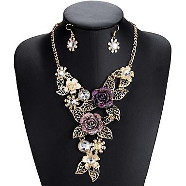 levne Party doplňky-Dámské Geometrické Šperky Set Umělé diamanty Kytky Luxus, Cikánský, Elegantní Zahrnout Náhrdelník Náušnice Zlatá Pro Svatební Párty Zásnuby Dar