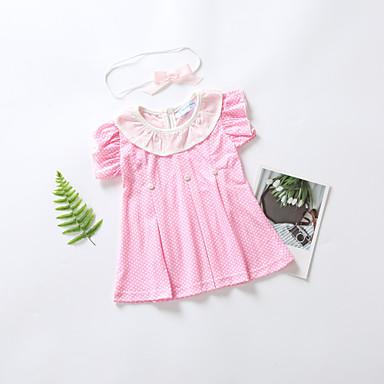 ee461879b16 Μωρό Κοριτσίστικα Βασικό Πουά Φιόγκος / Πλισέ Κοντομάνικο Μίντι Βαμβάκι  Φόρεμα Ανθισμένο Ροζ
