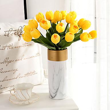billige Kunstige blomster-Kunstige blomster 6 Afdeling Klassisk Europæisk Brudebuketter Tulipaner Evige blomster Bordblomst