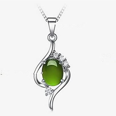 voordelige Dames Sieraden-Dames Groen Cat's Eye Chrysoberyl Hangertjes ketting Modieus Kromi Gesimuleerde diamant Zilver 40 cm Kettingen Sieraden 1pc Voor Dagelijks