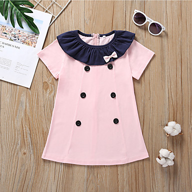 Χαμηλού Κόστους Φορέματα για κορίτσια-Παιδιά / Νήπιο Κοριτσίστικα χαριτωμένο στυλ Μονόχρωμο Φιόγκος Κοντομάνικο Βαμβάκι Φόρεμα Ανθισμένο Ροζ