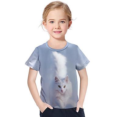 baratos Blusas para Meninas-Infantil Bébé Para Meninas Activo Básico Geométrica Estampado Estampado Manga Curta Camiseta Azul Claro