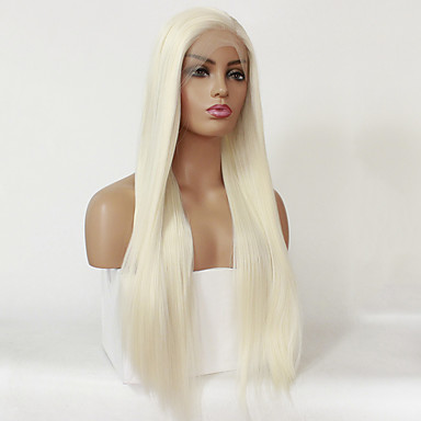 2beadfcac Synthetic Lace Front Wig Straight Style Silky Straight Lace Front Wig  Blonde Platinum Blonde Synthetic Hair Women's Natural Hairline Blonde Wig  24 inch / 26 ...
