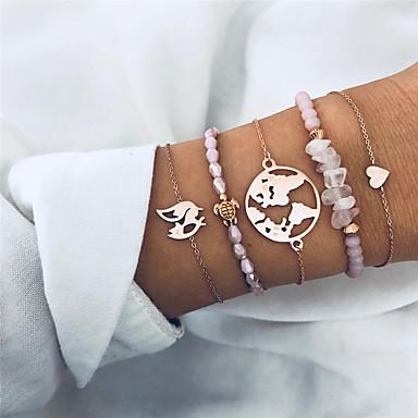 abordables Bracelet-5pcs Breloque Charms Bracelet Bracelets Vintage Parure Bracelet Femme Tressé Rose Oiseau Plans Cœur Bohème Mode Elégant Bracelet Bijoux Dorée Rond Irrégulier pour Soirée Cadeau