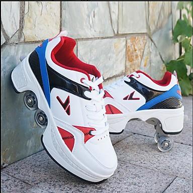 Drenge / Pige PU Sneakers Små børn (4-7 år) / Store børn (7 år +) Komfort Rød / Hvid / Blå / Hvid / sølv Forår / Efterår