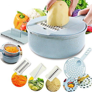 billige Kjøkkenutstyr og -redskap-mandolin slicer grønnsaksslicer potet peeler gulrot løk gryter med silke grønnsakskutter 8 i 1 kjøkken tilbehør