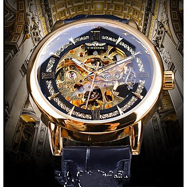 baratos Relógios Homem-WINNER Homens relógio mecânico Automático - da corda automáticamente Couro Legitimo Preta Gravação Oca Noctilucente Relógio Casual Analógico Vintage Casual - Dourado Azul