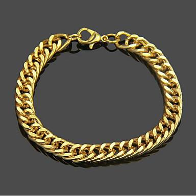 voordelige Herensieraden-Heren Armbanden met ketting en sluiting Cut Out Patroon Punk Rock 18 Karaats Verguld Armband sieraden Goud Voor Dagelijks Straat