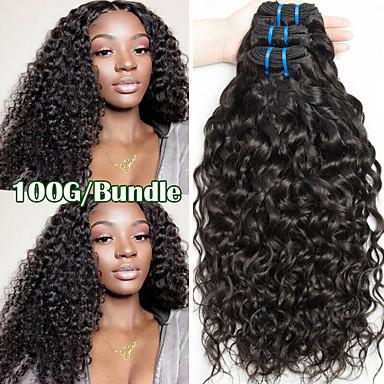 billige Parykker af ægte menneskerhår-3 Bundler Brasiliansk hår Vand Bølge 100% Remy Hair Weave Bundles Menneskehår, Bølget Bundle Hair Én Pack Solution 8-28 inch Naturlig Farve Menneskehår Vævninger Cosplay Bryllup Til sorte kvinder