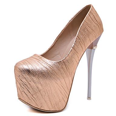 povoljno Ženske cipele-Žene Sintetika Jesen / Proljeće ljeto slatko / minimalizam Cipele na petu Stiletto potpetica Okrugli Toe Šljokice Zlato / Crn / Zabava i večer