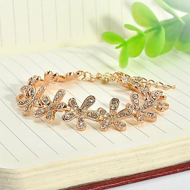 abordables Bracelet-Bracelet Femme Classique Strass Fleur Elégant simple Bracelet Bijoux Dorée Argent pour Quotidien