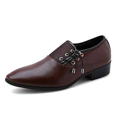 בגדי ריקוד גברים נעליים פורמליות PU אביב קיץ / סתיו חורף יום יומי / בריטי נעליים ללא שרוכים נושם שחור / חום / חתונה