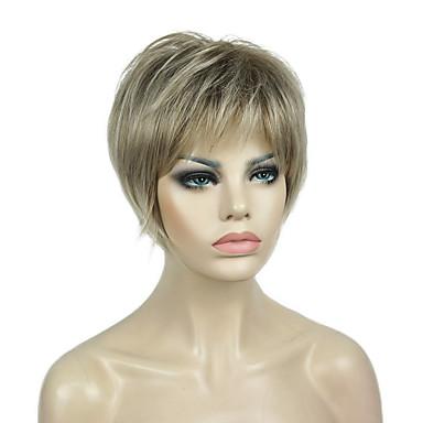 Syntetiska peruker Rak Stil Pixie-frisyr Utan lock Peruk Blond Kanekalon 6 tum Dam syntetisk Black-Blonde Peruk Korta 130% Människohår Peruk Täthet Naturlig peruk