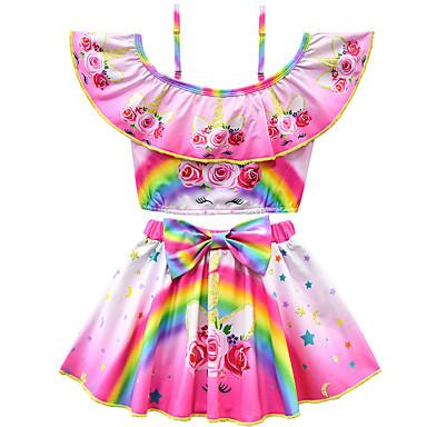billige Badetøj til piger-Børn Baby Pige Aktiv Sød Stil Blomstret Trykt mønster Sløjfer Kort Ærme Polyester Badetøj Lilla