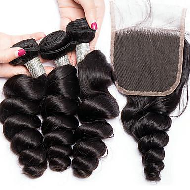 voordelige Weaves van echt haar-3 bundels met sluiting Braziliaans haar Los golvend Onbehandeld haar Menselijk haar weeft Bundle Hair Een Pack Solution 8-28 inch Natuurlijke Kleur Menselijk haar weeft Pasgeboren Leven Klassiek