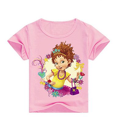 povoljno Majice za djevojčice-Djeca Dijete koje je tek prohodalo Djevojčice Osnovni Print Print Kratkih rukava Pamuk Spandex Majica s kratkim rukavima Blushing Pink