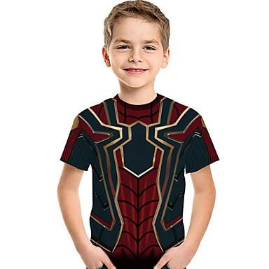 voordelige Jongenskleding-Kinderen Peuter Jongens Actief Standaard Heelal Print Print Korte mouw Polyester Spandex T-shirt Wijn