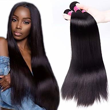 billige Parykker af ægte menneskerhår-4 pakker Brasiliansk hår Lige Ubehandlet Menneskehår Menneskehår, Bølget Bundle Hair Hårforlængelse af menneskehår 8-28 inch Naturlig Farve Menneskehår Vævninger Lugtfri Blød Sej Menneskehår