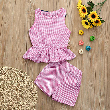 2843a93c6 رخيصةأون أطقم ملابس البنات-مجموعة ملابس بدون كم منقوش للفتيات طفل صغير