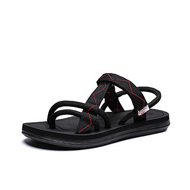 baratos Super Ofertas-Homens Sapatos Confortáveis Tecido elástico Primavera Verão Vintage Sandálias Respirável Preto / Preto / Vermelho