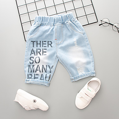 baratos Jeans Para Meninos-Infantil Para Meninos Activo Básico Sólido Estampado Buraco rasgado Estampado Algodão Jeans Azul Claro