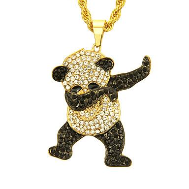 billige Mote Halskjede-Herre Kubisk Zirkonium Anheng Halskjede Panda Europeisk trendy Rock Mote Chrome Gull Sølv 76 cm Halskjeder Smykker 1pc Til Daglig Gate Klubb