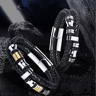 voordelige Herensieraden-Heren Lederen armbanden Gevlochten donuts modieus tekonahka Armband sieraden Goud / Zilver Voor Dagelijks