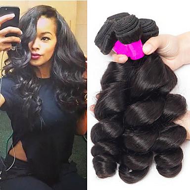baratos Extensões de Cabelo Natural-3 pacotes Cabelo Brasileiro Ondulação Larga 100% Remy Hair Weave Bundles Cabelo Humano Ondulado Extensor Cabelo Bundle 8-28 inch Côr Natural Tramas de cabelo humano Criativo Legal Para Mulheres Negras