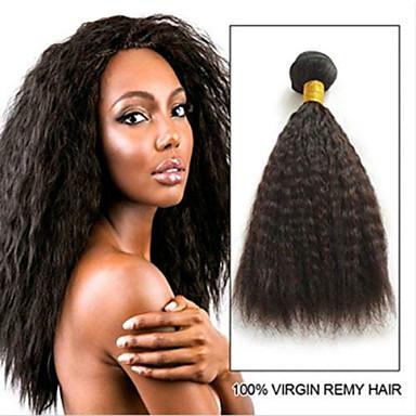 voordelige Weaves van echt haar-6 bundels Braziliaans haar KinkyRecht Mensen Remy Haar Menselijk haar weeft Bundle Hair Een Pack Solution 8-28inch Natuurlijke Kleur Menselijk haar weeft Geurvrij sexy Lady Dik Extensions van echt