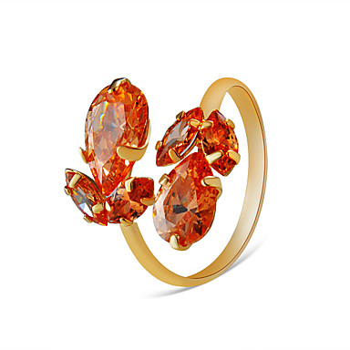 voordelige Ring-Dames Oranje Kristal Klassiek Ring Verstelbare ring Verguld Peer Modieuze ringen Sieraden Oranje Voor Feest Verloving Feestdagen Verstelbaar
