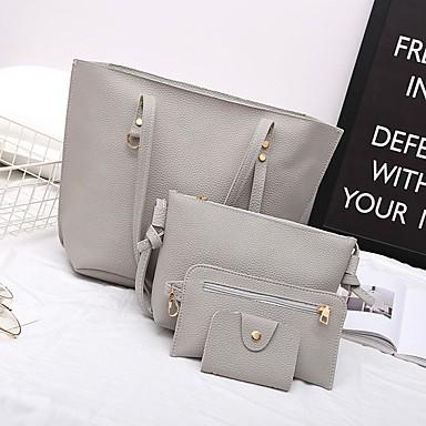 Damen Reißverschluss Bag Set Beutel Sets PU Volltonfarbe 4 Stück Geldbörse Set Rosa / Dunkelbraun / Dunkelgrau / Herbst Winter