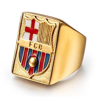 voordelige Herensieraden-Heren Ring 1pc Goud Titanium Staal Geometrische vorm Stijlvol Lahja Dagelijks Sieraden Klassiek Gelukkig Cool
