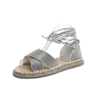 bec893c1 billige Damesko-Dame Sandaler Flat hæl PU Sommer Gull / Sølv