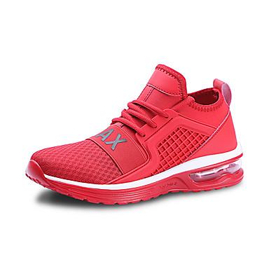 בגדי ריקוד גברים אור סוליות PU / בד גמיש אביב קיץ ספורטיבי נעלי אתלטיקה נושם לבן / שחור / אדום