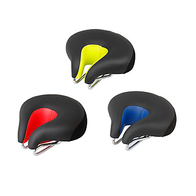 cheap Bike Parts & Components-Bike Saddle / Bike Seat Extra Wide / Extra Large Comfort Cushion Hollow Design PU Leather Silica Gel Cycling Road Bike Mountain Bike MTB Red Green Blue