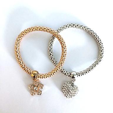 abordables Bracelet-Bracelet Femme Classique Imitation Diamant Cœur Flocon de Neige Elégant Bracelet Bijoux Dorée Argent pour Quotidien