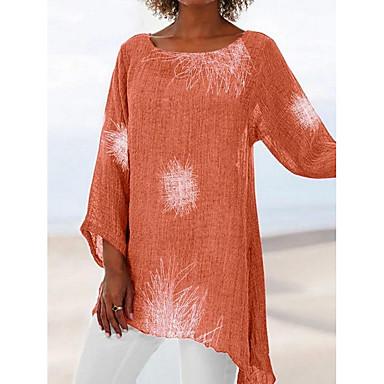 ราคาถูก สินค้ามาใหม่-สำหรับผู้หญิง เสื้อเชิร์ต รูปเรขาคณิต ทับทิม US12