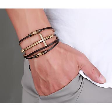 voordelige Herensieraden-Heren Lederen armbanden loom Bracelet Gevlochten Kruis Statement Stijlvol Punk modieus Rock Titanium Staal Armband sieraden Bruin Voor Feest Lahja Dagelijks Carnaval Club