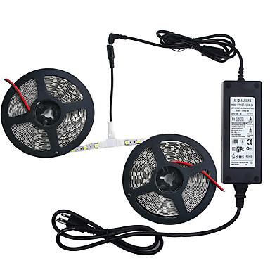 billige LED Strip Lamper-zdm 32.8ft / 10m ikke-vanntett 600 enheter smd 5050 led rød / blå / kald hvit / varm hvit fleksibel led strip lys med 12v / 6a strømforsyning for ferie / hjem / fest / innendørs / dekorasjon