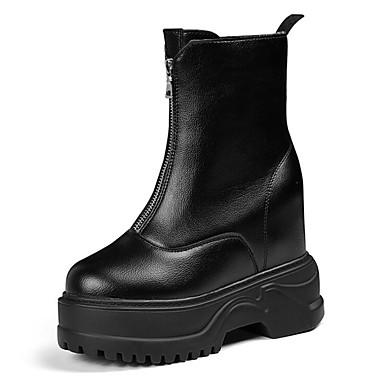 voordelige Dameslaarzen-Dames Polyester Lente Laarzen Platte hak Ronde Teen Korte laarsjes / Enkellaarsjes Zwart / Beige / Luipaard