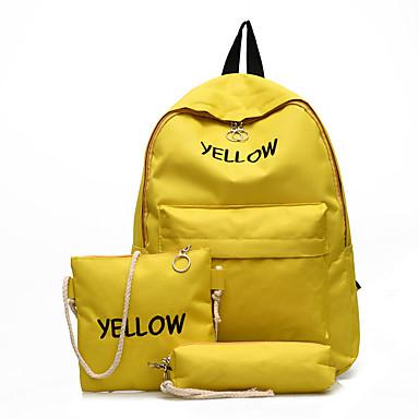 בגדי ריקוד נשים מובלט ניילון סטי תיק צבע אחיד 3 Pcs ערכת הארנק שחור / ורוד מסמיק / צהוב / סתיו חורף