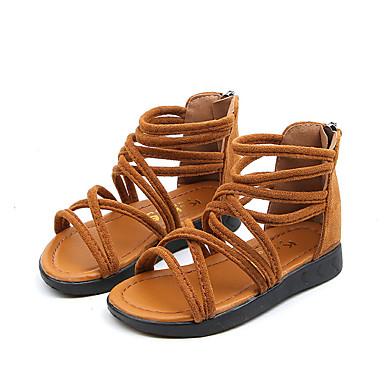 povoljno Summer Sales-Djevojčice PU / Elastična tkanina Sandale Djeca / Tinejdžer Rimske cipele Crn / Braon / Light Pink Ljeto