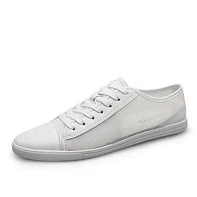 בגדי ריקוד גברים נעלי נוחות רשת אביב קיץ יום יומי נעלי ספורט הליכה נושם לבן / שחור