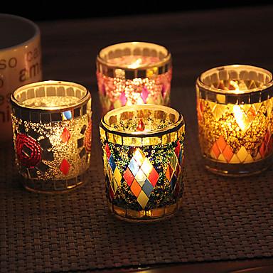 billige Stearinlysgaver-diamant håndlaget patch glass lysestake skrivebord dekorasjon bryllup dekorasjon