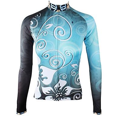 ILPALADINO Žene Dugih rukava Biciklistička majica Sky blue Cvjetni / Botanički Bicikl Biciklistička majica Majice Ugrijati Podstava od flisa Ultraviolet Resistant Sportski Zima Elastan Runo Brdski