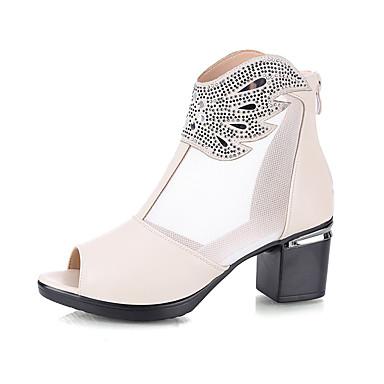voordelige Dameslaarzen-Dames Laarzen Sexy Schoenen Blok hiel Peep Toe Sprankelend glitter Netstof / PU Vintage / minimalisme Lente & Herfst / Lente zomer Wit / Zwart