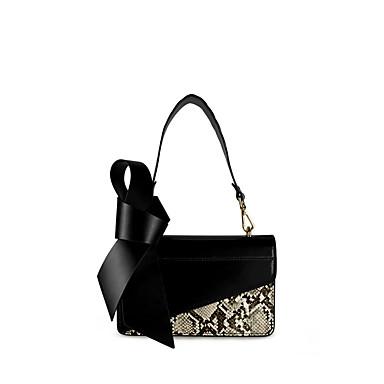 hesapli Çantalar-Kadın's Çantalar PU Çapraz Çanta Fiyonk için Günlük / Dış mekan İlkbahar yaz / Sonbahar Kış Siyah / Badem / Yılan Derisi
