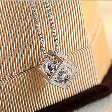 abordables Colliers-Collier Pendentif Femme Classique Zircon cubique Clair Amour Doux Elégant Adorable Argent 45 cm Colliers Tendance Bijoux 1pc pour Quotidien Rectangulaire